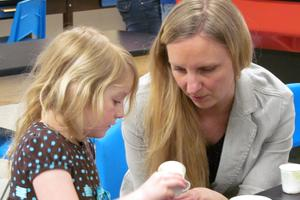 Emily West with science teacher Cindi Eaton Heanssler