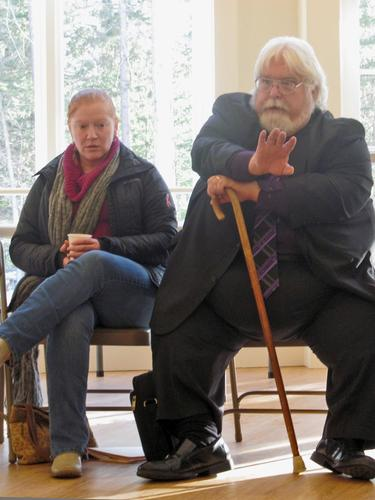 Holly Eaton and Stephen York at public forum in Deer Isle