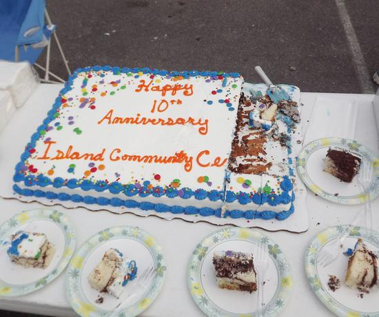 Cake was handed out at the Stonington Pier