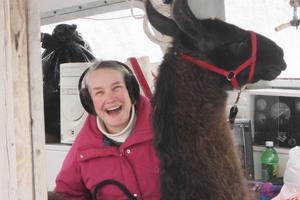 Kendra Chubbuck and llama, Maxwell