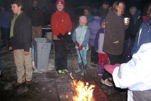 A bonfire at Winterfest in Stonington