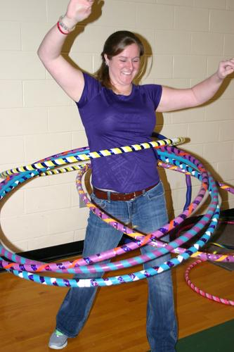 Manda Boyce demonstrates the finer art of hula hooping