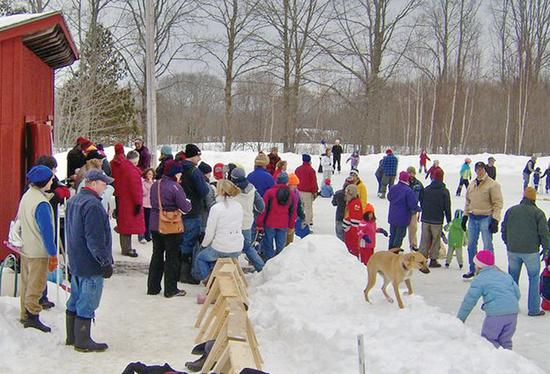 The annual skating party on Union Street in Blue Hill