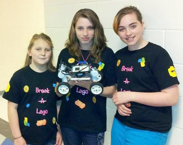 Lego champs, Lauren Brown, Sarah Chambers and LeeAnn Varnum
