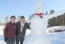 Snowmen engineers in East Blue Hill, Maine
