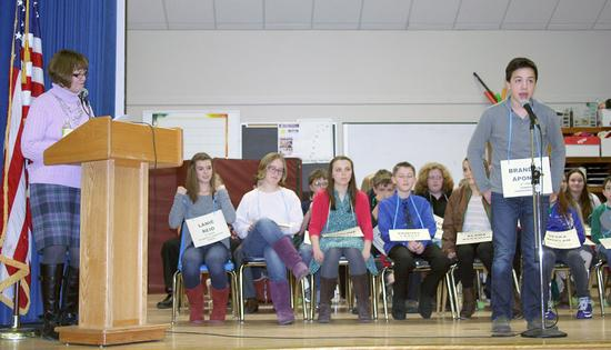 Hancock County middle school spelling bee at Cave Hill School in Eastbrook