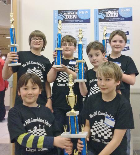 The winning K-6 Blue Hill Consolidated School chess team