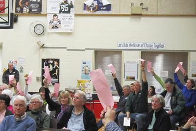 Voters convene for the 2014 town meeting in Brooksville, Maine