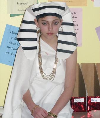 Genevieve Claybaugh as a pharaoh at Brooklin School