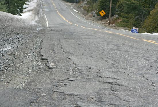 Potholes plague Mines Road in Blue Hill