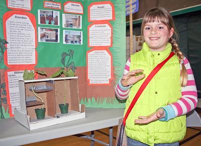 Fourth grader Chloe Sheahan at the Sedgwick School Science Fair