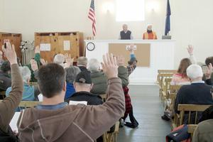 Citizens vote at town meeting in Sedgwick, Maine