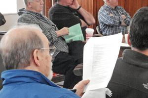 Warrant articles are introduced at the 2014 Sedgwick, Maine town meeting