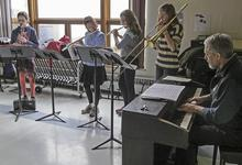 Blue Hill student jazz band entertain at town meeting