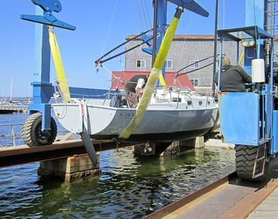 Launch day at Brooklin Boat Yard