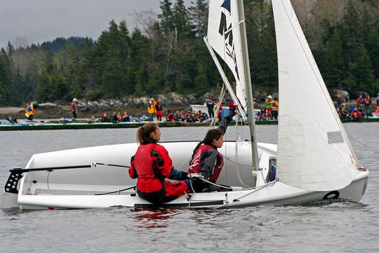 Young sailors head for their mark in the Downeast Regatta