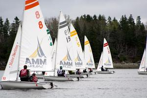 Sailboats hold at the start line of the Downeast Regatta
