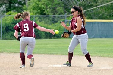 The Eagles' softball players make a play