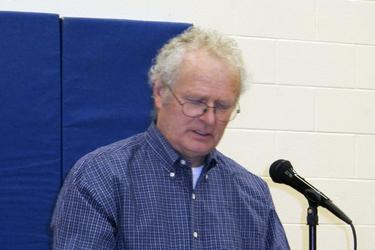Bob Vaughn moderates the 2014 Brooksville, Maine town meeting