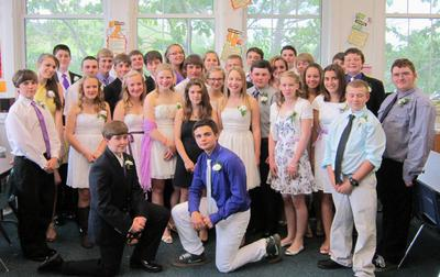 The eighth grade class at the Blue Hill Consolidated School