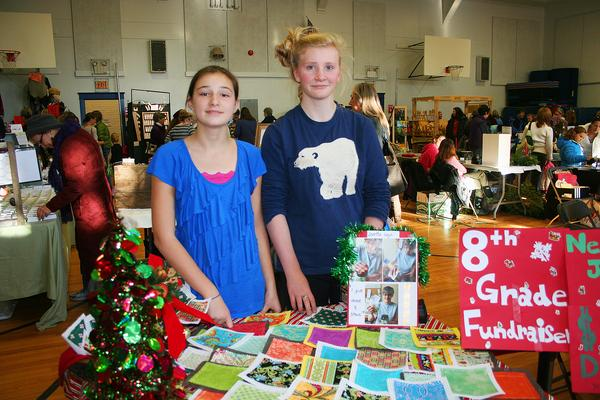 BHCS 8th graders Tillie Marsh and Nellie Haldane at the holiday craft fair