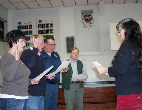 Newly Elected Blue Hill Selectmen being sworn in