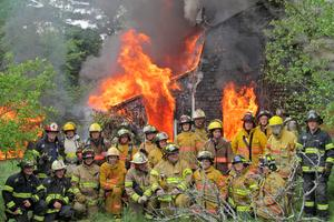 Firefighters  participated in a practice burn in Brooksville