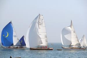 Sailing yachts raced through the Deer Island Thoroughfare on August 3 in the Camden Classic.