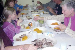 Harvest supper at the Halcyon Grange