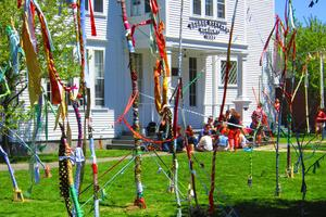 Brightly decorated tree limbs at the GSA Arts Festival