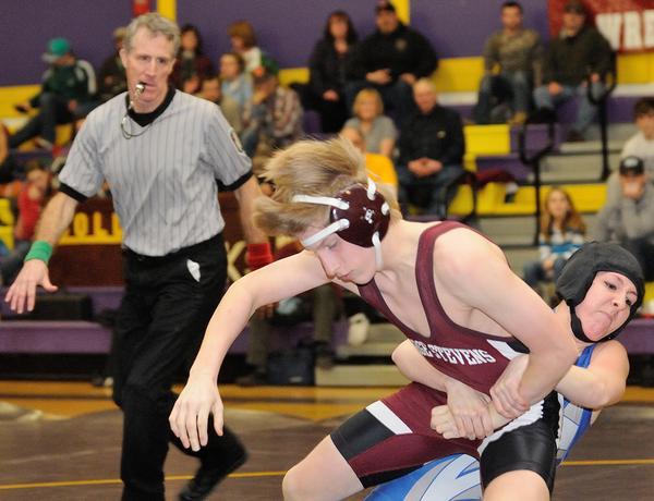 Junior Henry Bowden battles Jen Allen