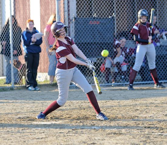 GSA freshman Lily Cox scores the final base hit