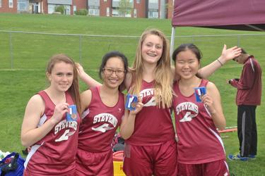 Relay team Madison Cole, Charcy Ye, Brooke Wentworth and Joan Liu