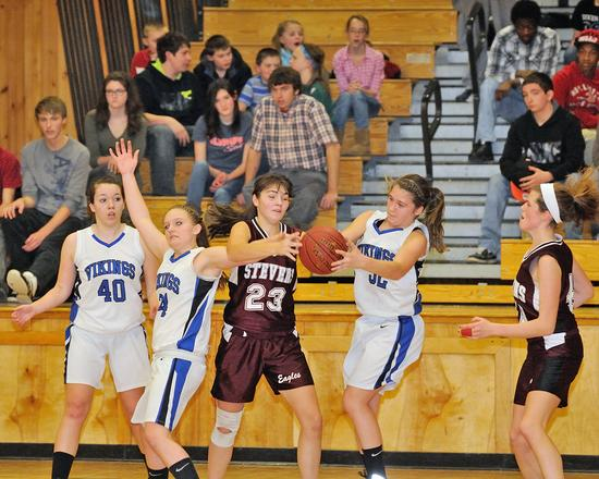 Senior Mary Prescott hangs tough against Searsport