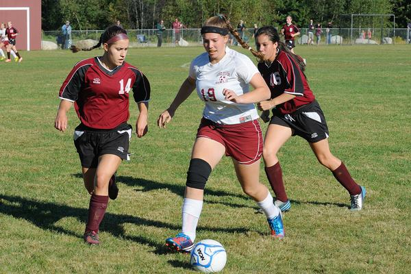 Charlotte Reiter heads for the goal against Orono
