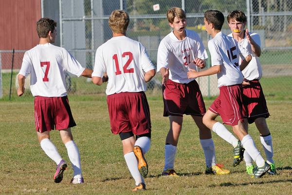 GSA Soccer players celebrate on Sept. 19th