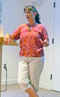 Jo Barrett spoke at the Blue Hill Library on July 15 2013
