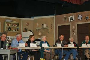 Candidates for selectmen at a forum in Blue Hill town hall