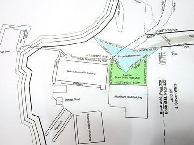 A town map of Brooklin showing the proposed easement