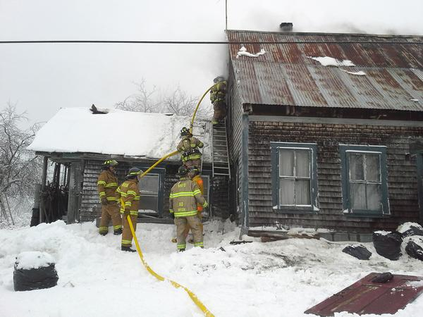 Firefighters battle structure fire on the Range Road in Blue Hill on December 30