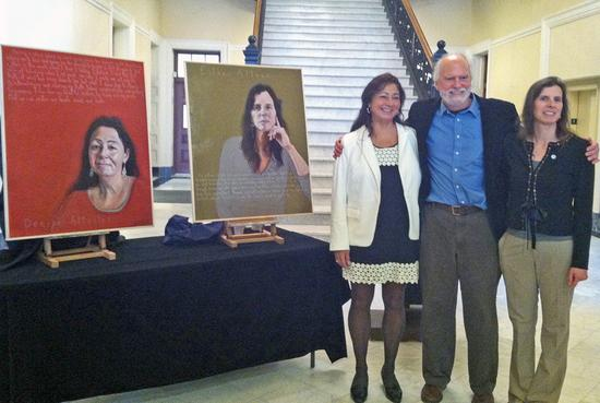 Denise Altvater and Esther Attean stand with artist Rob Shetterly