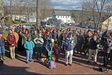 Gathering in support of Blue Hill farmer Dan Brown