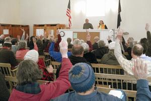 The final vote at the annual Sedgwick town meeting