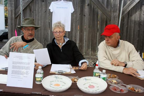 Taste of the Peninsula pie contest judges Bill Grindle, Brooke Dojny and Jonathan Chase