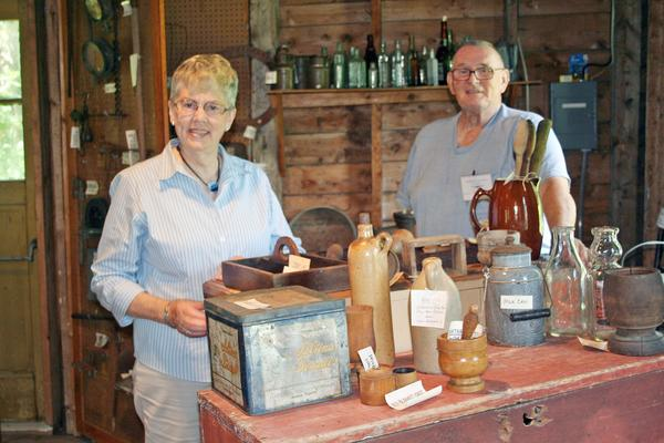 Sally Blodgett with Edson Blodgett at the Brooksville Historical Society