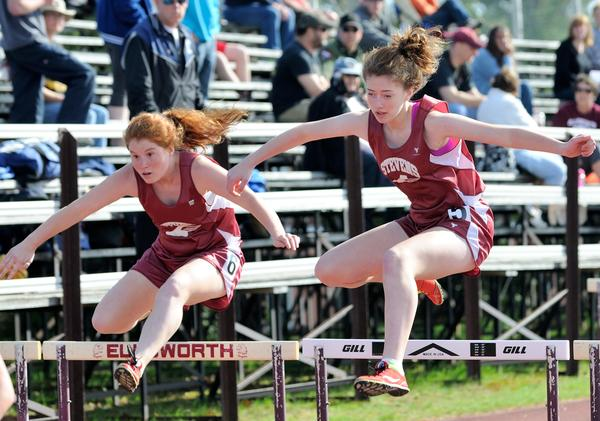 Shannon Larkin and Brier-Rose Werner in the 100 meter hurdles