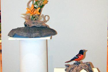 Carving of a Baltimore Oriole at Blue Hill's Art in Bloom