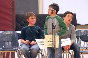 Cameron Stewart at the spelling bee at Cave Hill School in Eastbrook