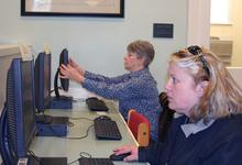 Public computer users at Blue Hill Public Library in maine