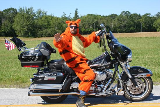 Motorcycle-riding tiger in the Brooksville Day Parade